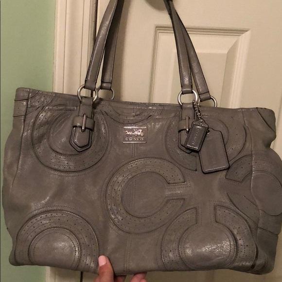 Coach Handbags - Grey Leather Coach Shoulder Bag
